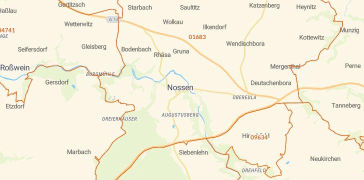 Straßenkarte mit Hausnummern Nossen
