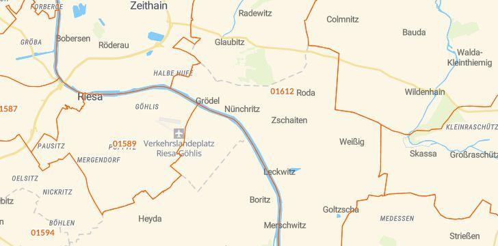 Straßenkarte mit Hausnummern Nünchritz