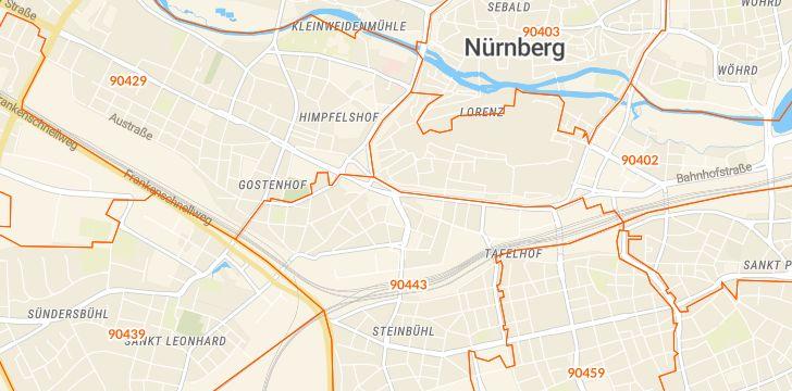 Straßenkarte mit Hausnummern Nürnberg