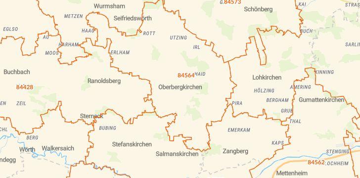 Straßenkarte mit Hausnummern Oberbergkirchen