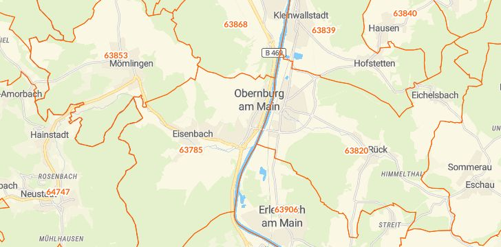 Straßenkarte mit Hausnummern Obernburg am Main