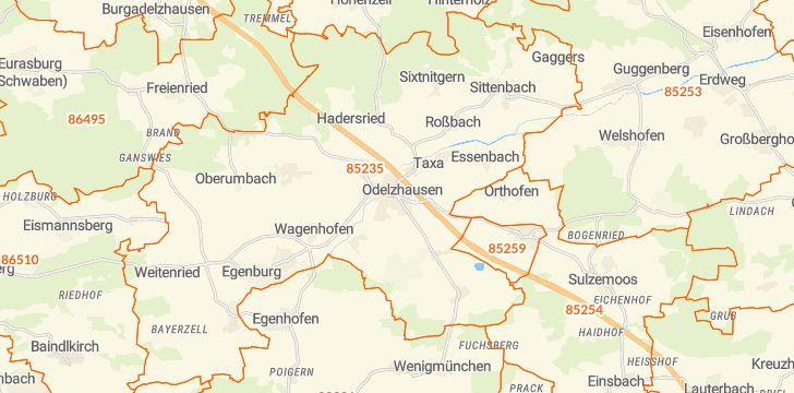 Straßenkarte mit Hausnummern Odelzhausen