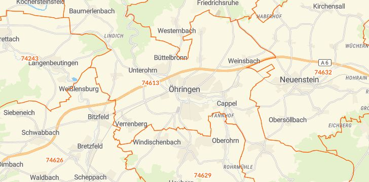 Straßenkarte mit Hausnummern Öhringen