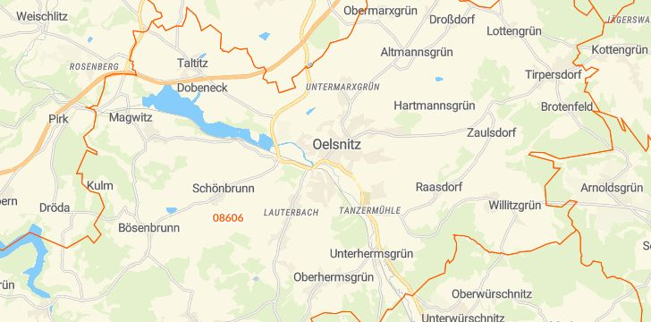 Straßenkarte mit Hausnummern Oelsnitz (Vogtland)
