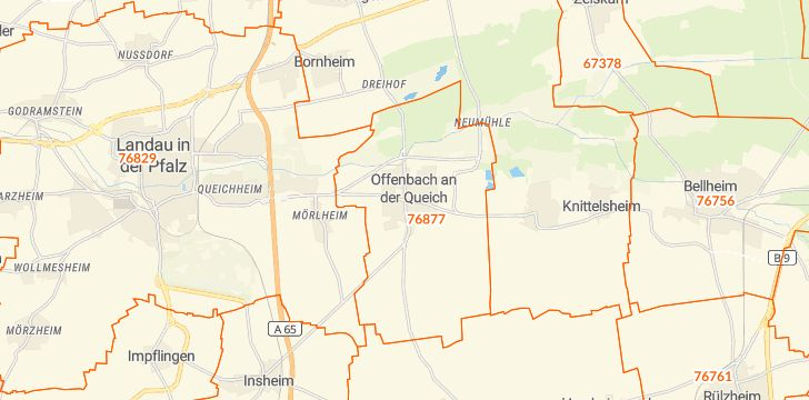 Straßenkarte mit Hausnummern Offenbach an der Queich