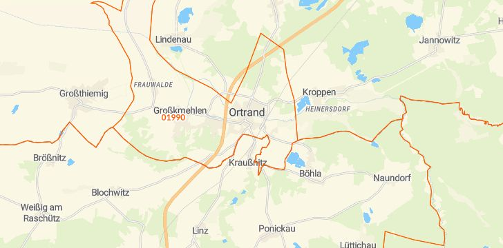 Straßenkarte mit Hausnummern Ortrand