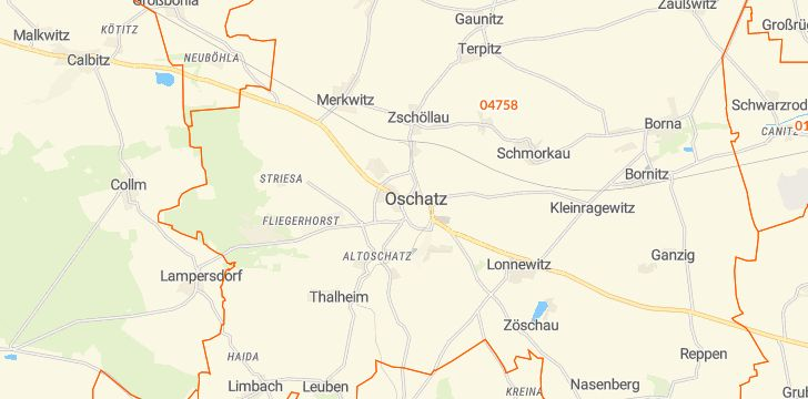 Straßenkarte mit Hausnummern Oschatz