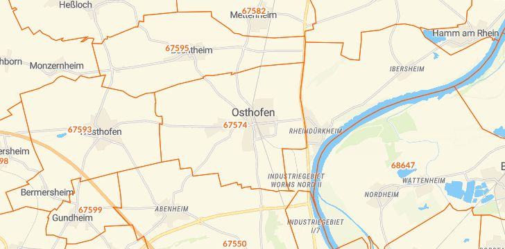 Straßenkarte mit Hausnummern Osthofen