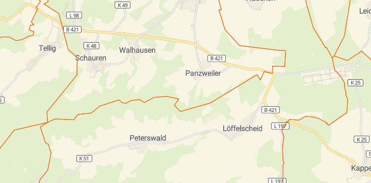 Straßenkarte mit Hausnummern Panzweiler bei Blankenrath