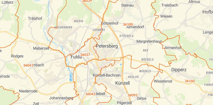 Straßenkarte mit Hausnummern Petersberg (Hessen)