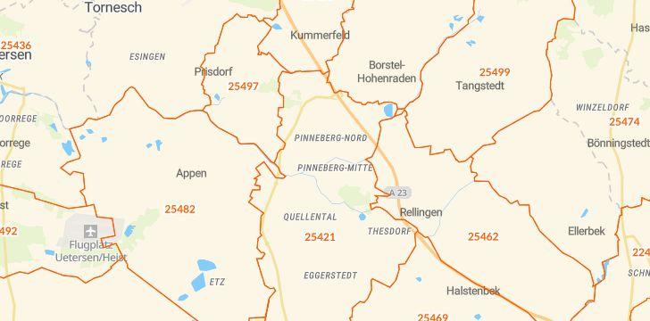 Straßenkarte mit Hausnummern Pinneberg