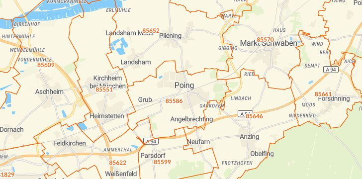 Straßenkarte mit Hausnummern Poing