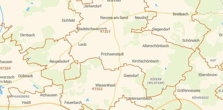 Straßenkarte mit Hausnummern Prichsenstadt