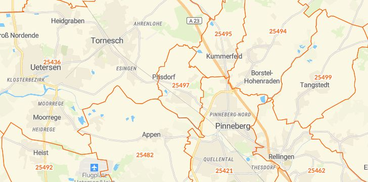 Straßenkarte mit Hausnummern Prisdorf
