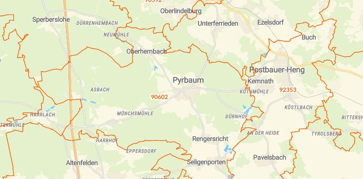 Straßenkarte mit Hausnummern Pyrbaum
