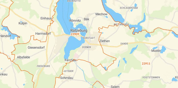 Straßenkarte mit Hausnummern Ratzeburg