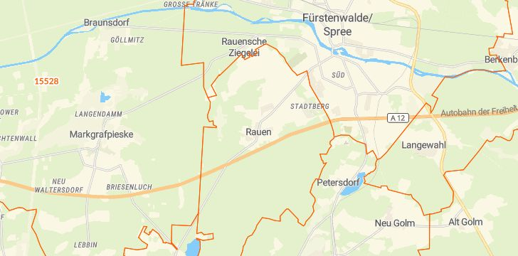 Straßenkarte mit Hausnummern Rauen