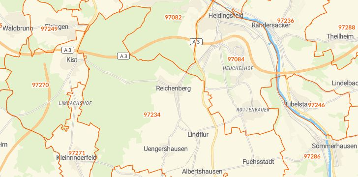 Straßenkarte mit Hausnummern Reichenberg (Unterfranken)