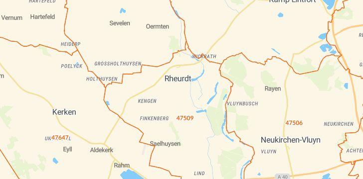 Straßenkarte mit Hausnummern Rheurdt