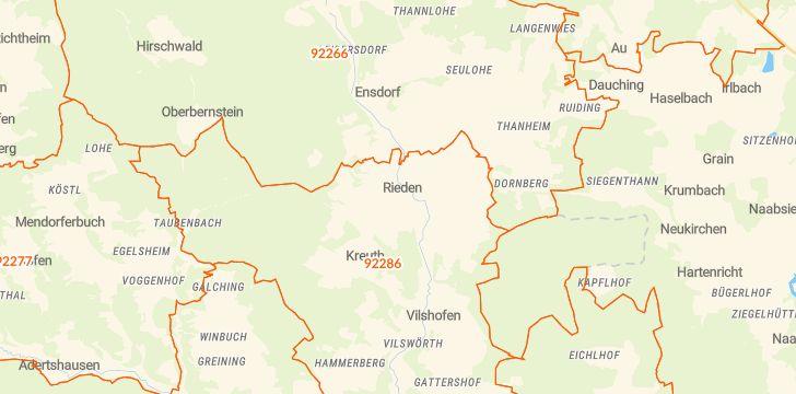 Straßenkarte mit Hausnummern Rieden (Oberpfalz)