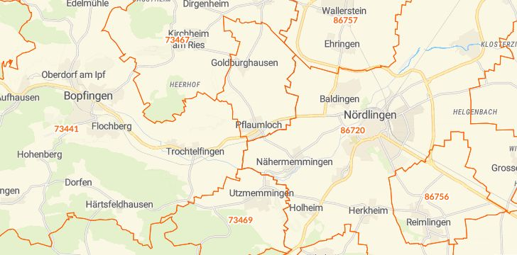 Straßenkarte mit Hausnummern Riesbürg