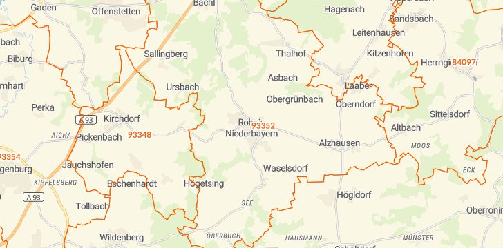 Straßenkarte mit Hausnummern Rohr in Niederbayern