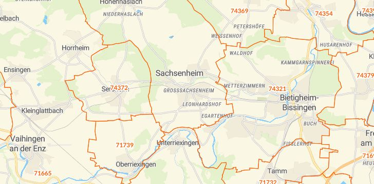 Straßenkarte mit Hausnummern Sachsenheim