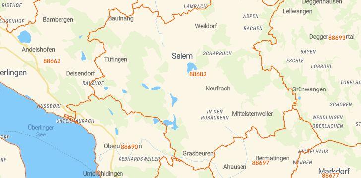 Straßenkarte mit Hausnummern Salem (Baden)