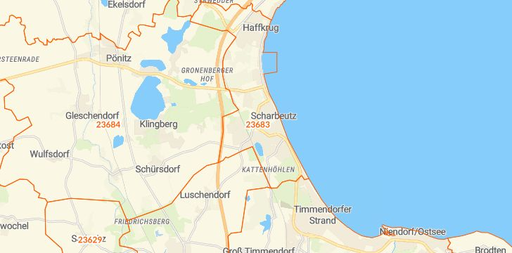 Straßenkarte mit Hausnummern Scharbeutz