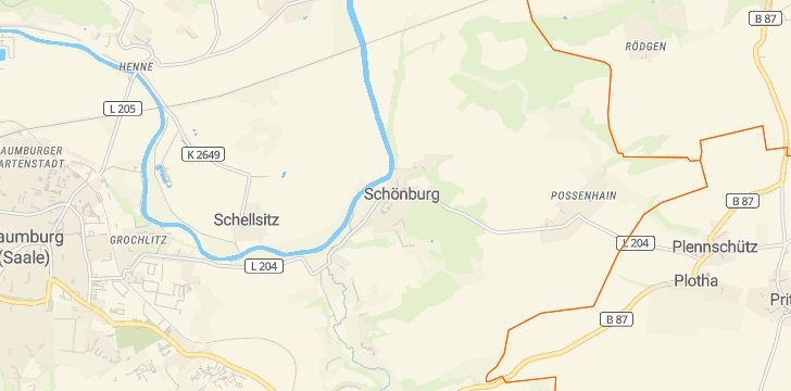 Straßenkarte mit Hausnummern Schönburg (Saale)