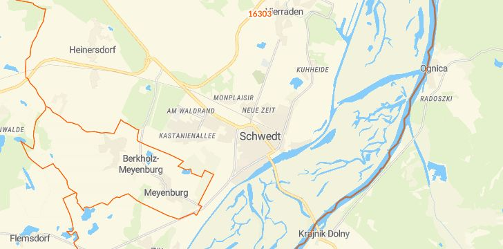 Straßenkarte mit Hausnummern Schwedt/Oder