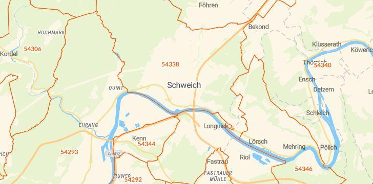 Straßenkarte mit Hausnummern Schweich