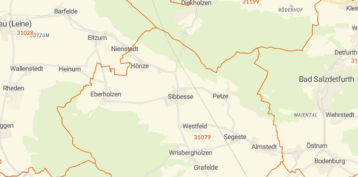 Straßenkarte mit Hausnummern Sibbesse