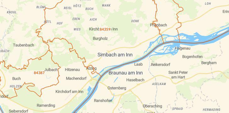 Straßenkarte mit Hausnummern Simbach am Inn