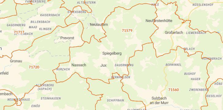 Straßenkarte mit Hausnummern Spiegelberg