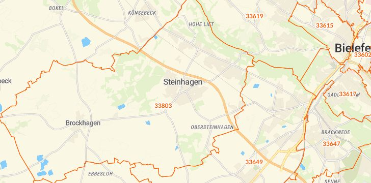 Straßenkarte mit Hausnummern Steinhagen (Westfalen)