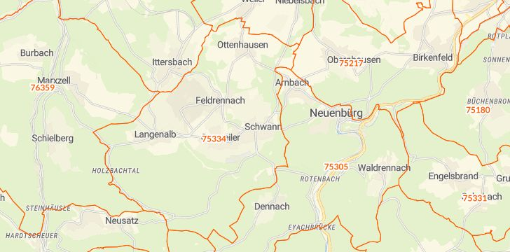 Straßenkarte mit Hausnummern Straubenhardt