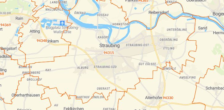 Straßenkarte mit Hausnummern Straubing