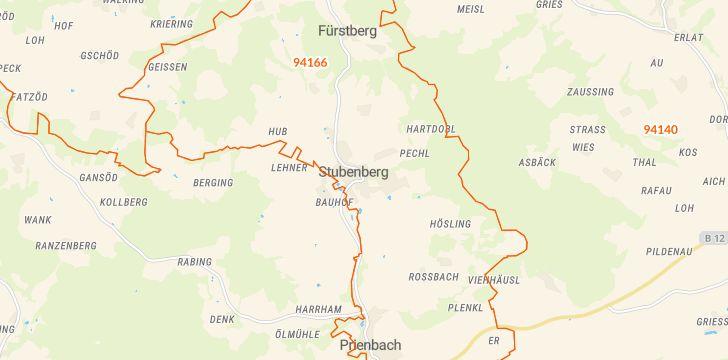 Straßenkarte mit Hausnummern Stubenberg