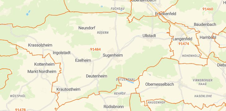 Straßenkarte mit Hausnummern Sugenheim