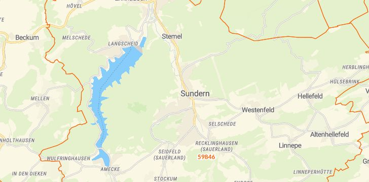 Straßenkarte mit Hausnummern Sundern (Sauerland)