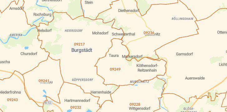 Straßenkarte mit Hausnummern Taura
