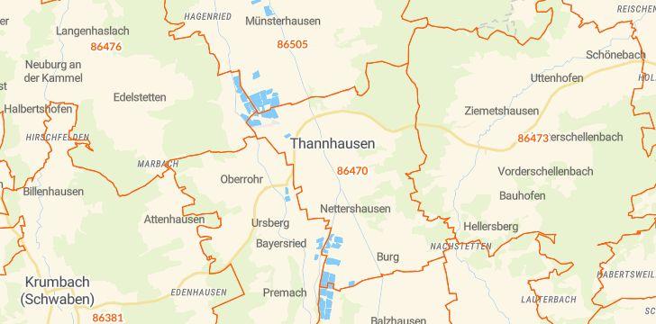 Straßenkarte mit Hausnummern Thannhausen