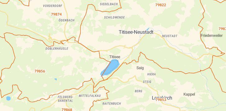 Straßenkarte mit Hausnummern Titisee-Neustadt
