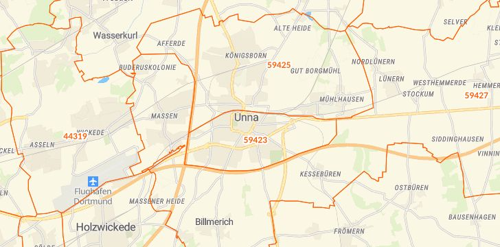 Straßenkarte mit Hausnummern Unna