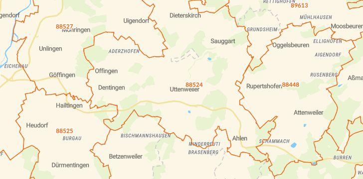 Straßenkarte mit Hausnummern Uttenweiler