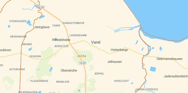 Straßenkarte mit Hausnummern Varel