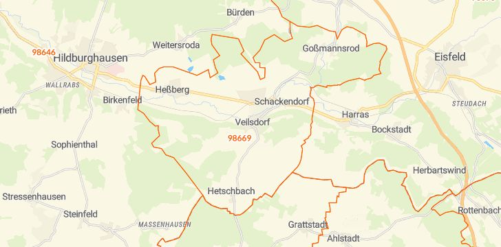 Straßenkarte mit Hausnummern Veilsdorf