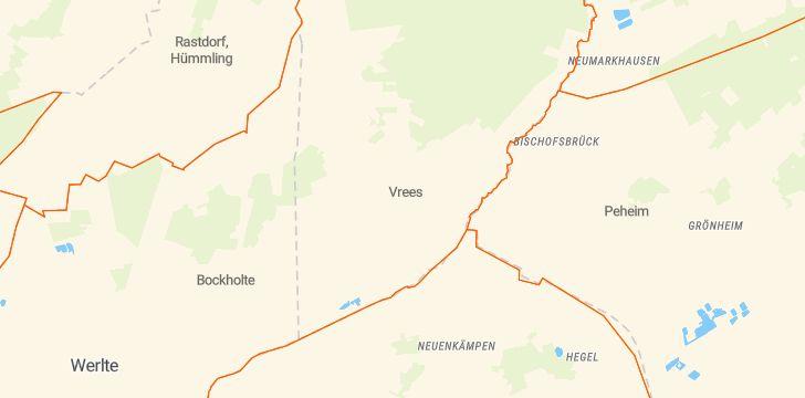 Straßenkarte mit Hausnummern Vrees
