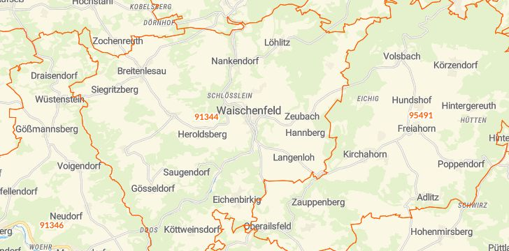 Straßenkarte mit Hausnummern Waischenfeld